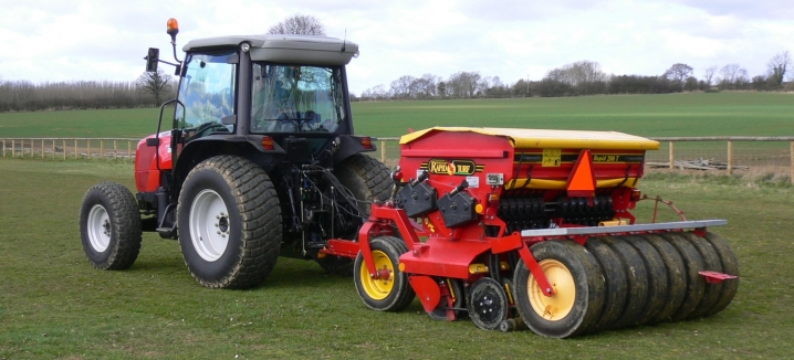 Väderstad Turf Drill and MF compact tractor